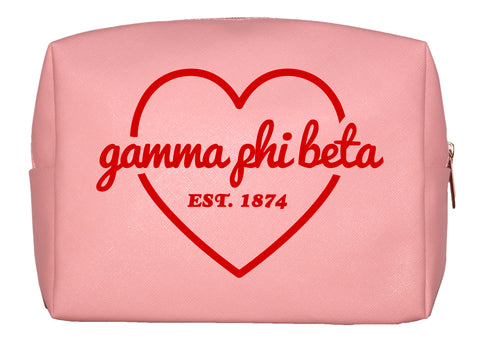 Gamma Phi Beta Pink w/Red Heart Makeup Bag