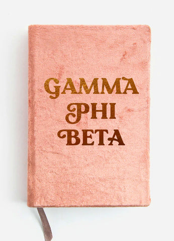 Gamma Phi Beta Velvet Notebook with Gold Foil Imprint