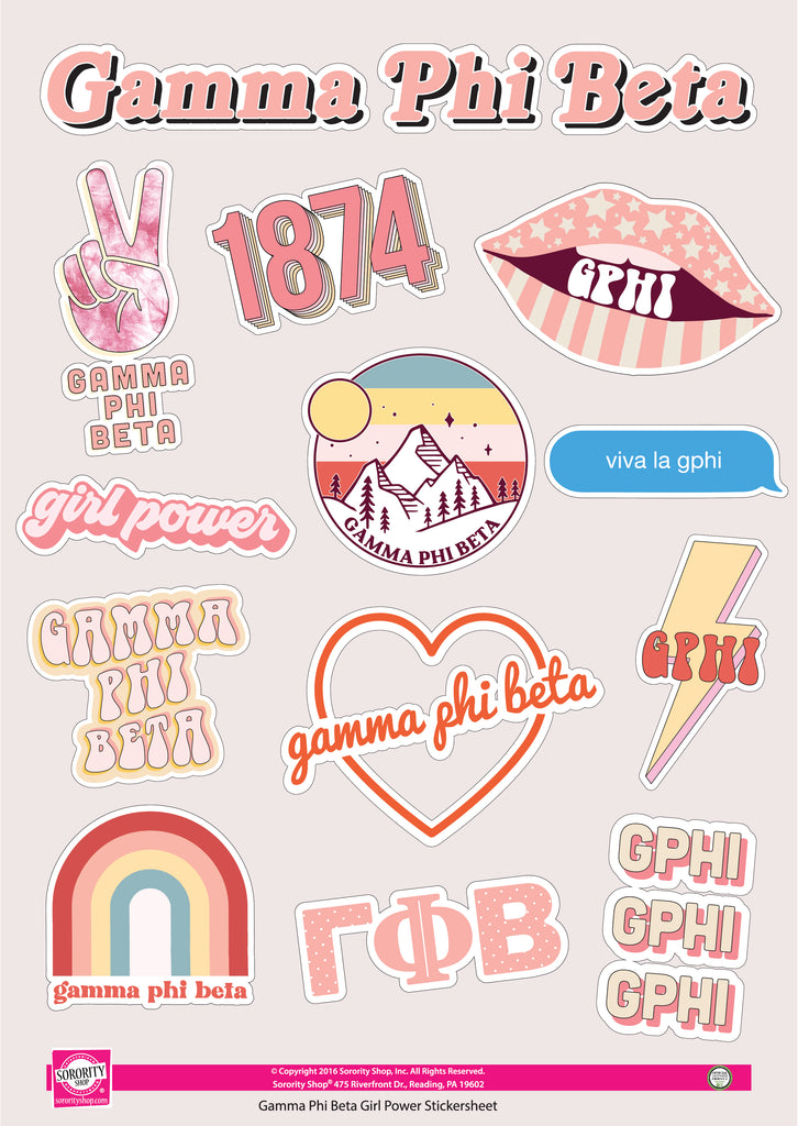 Gamma Phi Beta Girl Power Sticker Sheet