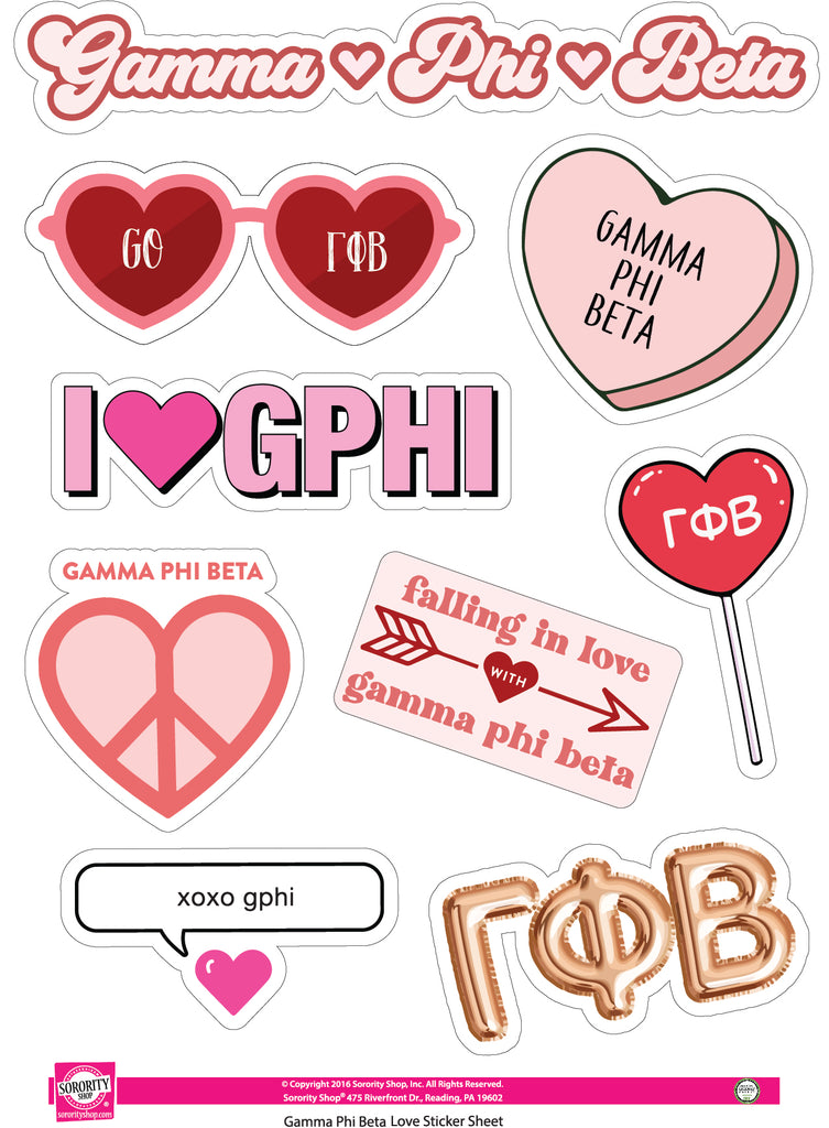 Gamma Phi Beta- Sticker Sheet- Love Theme