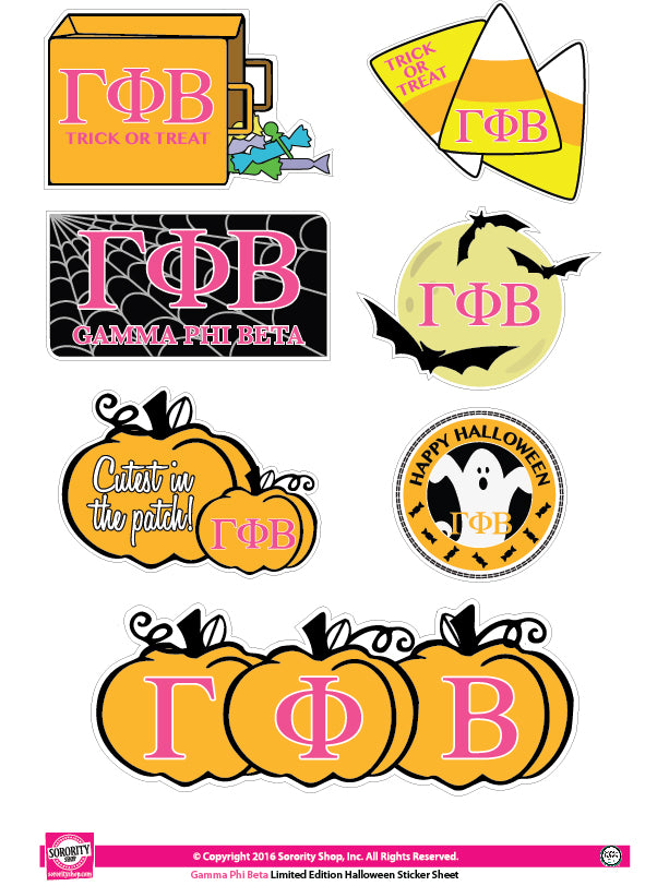 Gamma Phi Beta Halloween Stickers