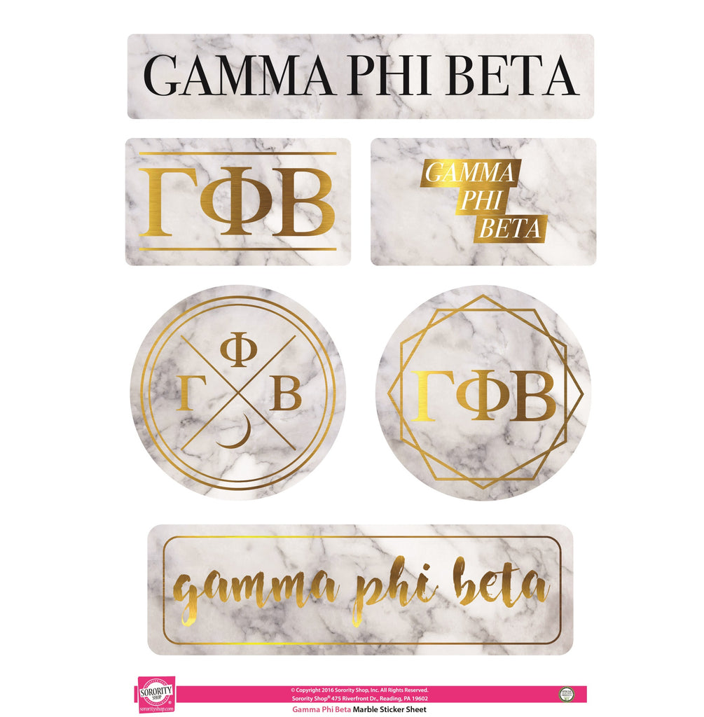 Gamma Phi Beta <br> Marble Sticker Sheet