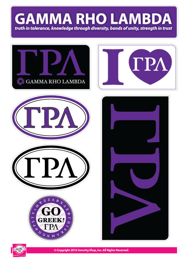 Gamma Rho Lambda <br> Lifestyle Stickers