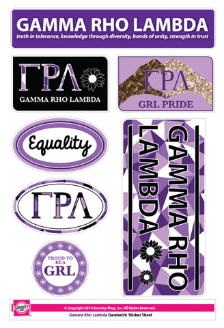 Gamma Rho Lambda <br> Geometric Stickers