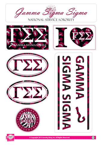 Gamma Sigma Sigma <br> Animal Print Stickers