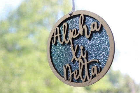 "Alpha Xi Delta - Laser Carved Greek Letter Ornament - 3"" Round"