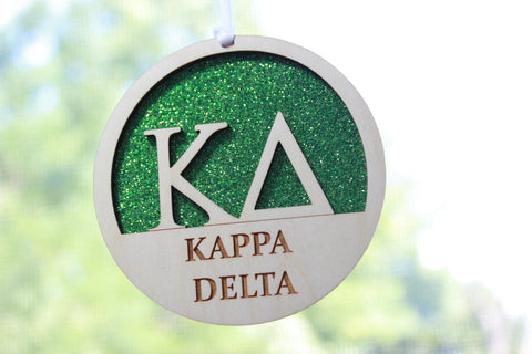 "Kappa Delta - Laser Carved Greek Letter Ornament - 3"" Round"