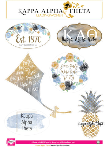 Kappa Alpha Theta <br> Water Color stickers