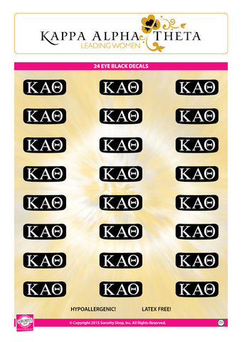 Kappa Alpha Theta <br> Eye Black Decals. <br> 24 Per sheet.