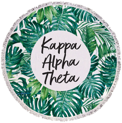Kappa Alpha Theta Palm Leaf Fringe Towel Blanket