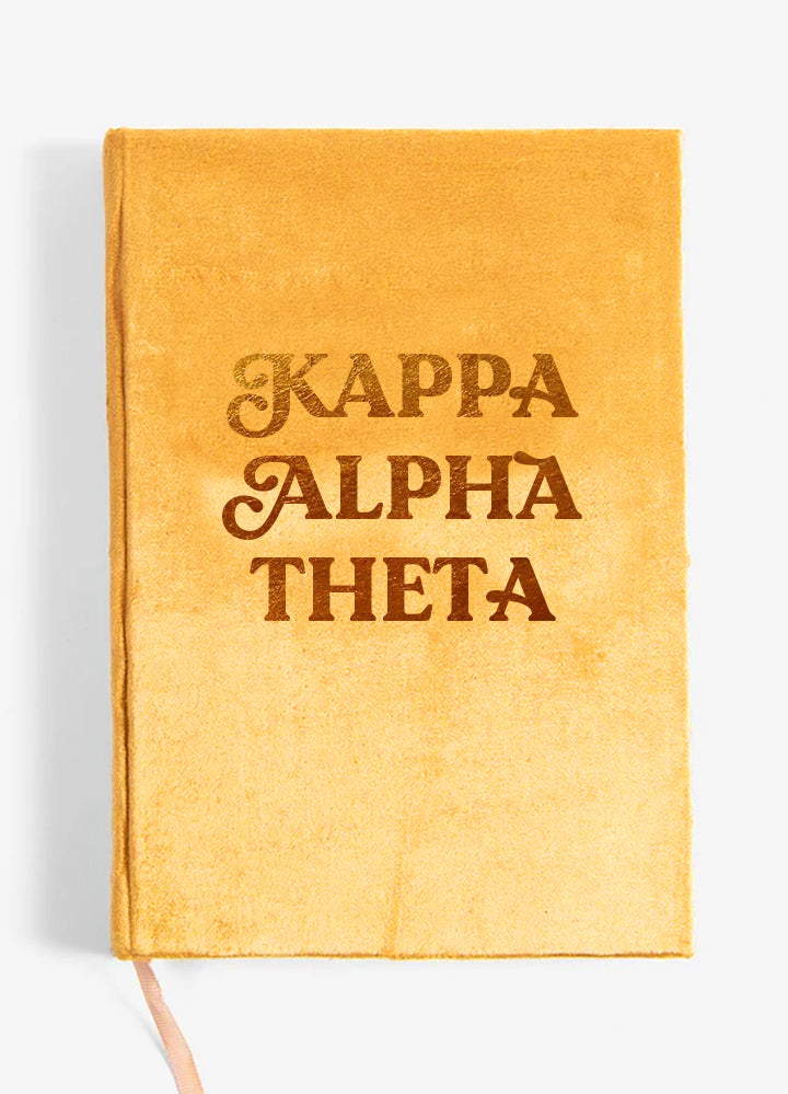 Kappa Alpha Theta Velvet Notebook with Gold Foil Imprint