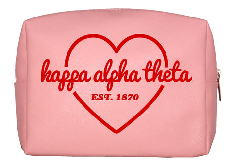 Kappa Alpha Theta Pink w/Red Heart Makeup Bag