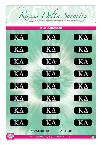 Kappa Delta <br> Eye Black Decals. <br> 24 Per sheet.