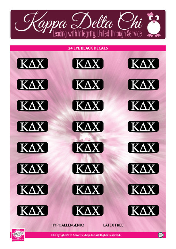 Kappa Delta Chi <br> Eye Black Decals. <br> 24 Per sheet.