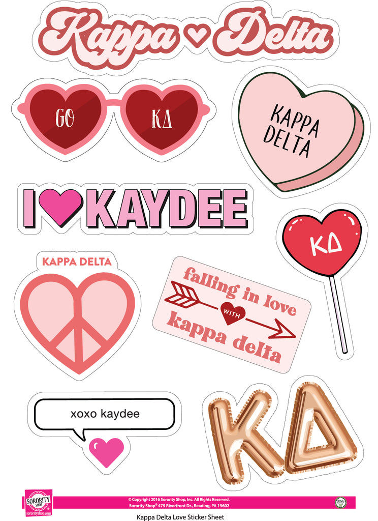 Kappa Delta- Sticker Sheet- Love Theme