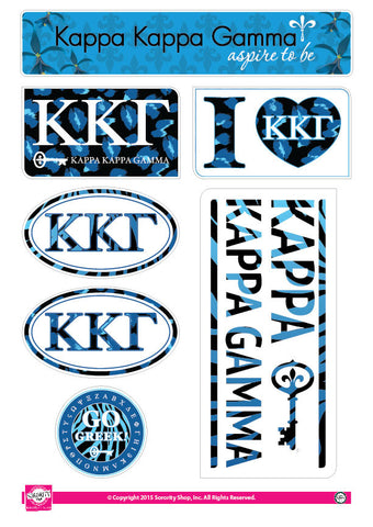 Kappa kappa Gamma <br> Animal Print Stickers
