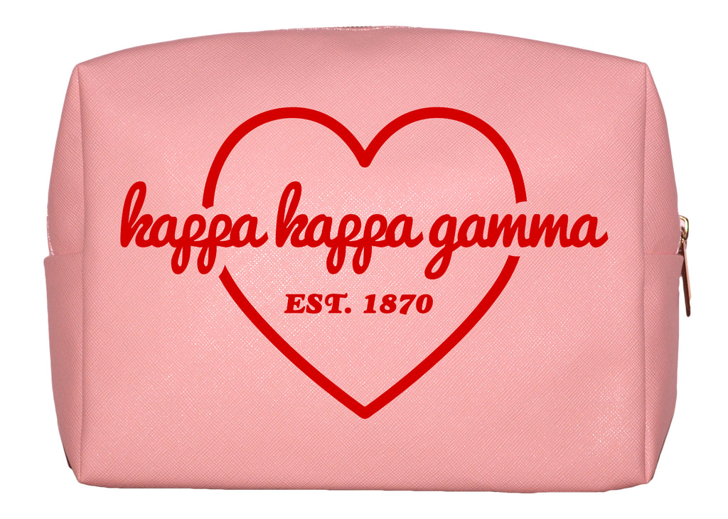 Kappa Kappa Gamma Pink w/Red Heart Makeup Bag
