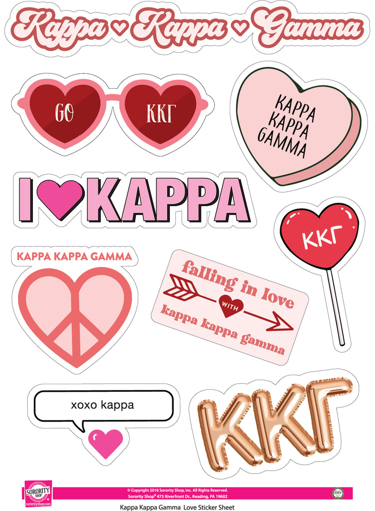 Kappa Kappa Gamma- Sticker Sheet- Love Theme