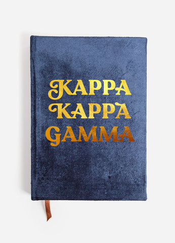 Kappa Kappa Gamma Velvet Notebook with Gold Foil Imprint