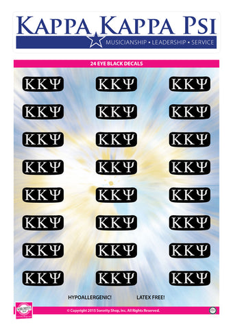 Kappa Kappa Psi <br> Eye Black Decals. <br> 24 Per sheet.