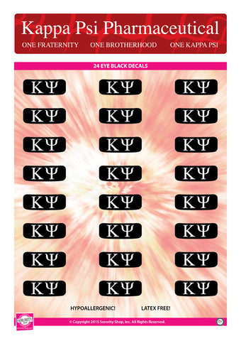 Kappa Psi <br> Eye Black Decals. <br> 24 Per sheet.