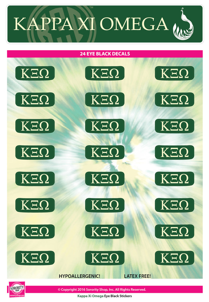 Kappa Xi Omega <br> Eye Black Decals. <br> 24 Per sheet.