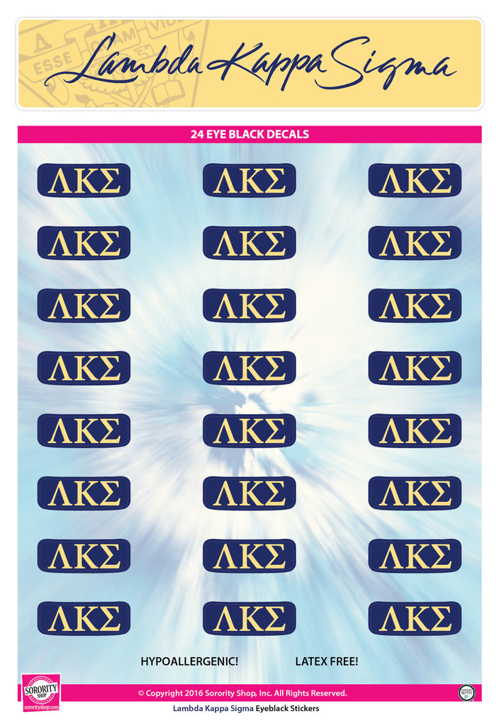 Lambda Kappa Sigma <br> Eye Black Decals. <br> 24 Per sheet.