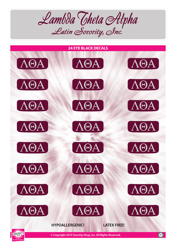 Lambda Theta Alpha <br> Eye Black Decals. <br> 24 Per sheet.