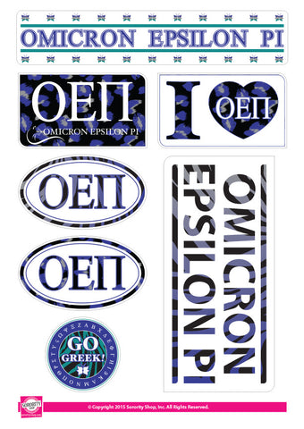 Omicron Epsilon Pi <br> Animal Print Stickers