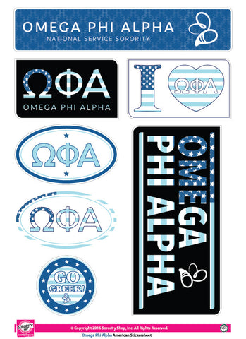 Omega Phi Alpha <br> American stickers