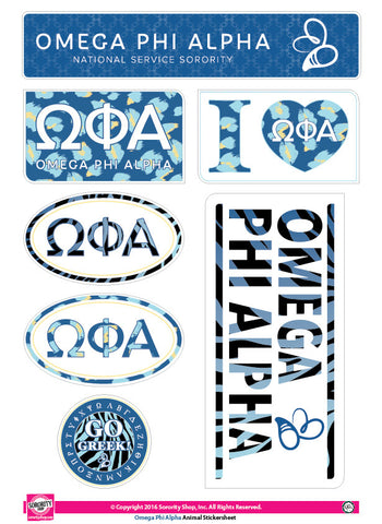 Omega Phi Alpha <br>Animal Print Stickers
