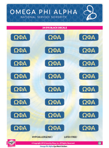 Omega Phi Alpha <br> Eye Black Decals. <br> 24 Per sheet.