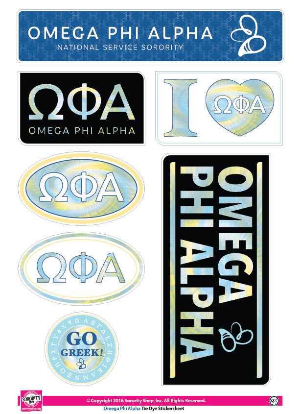 Omega Phi Alpha <br>Tie Dye Stickers