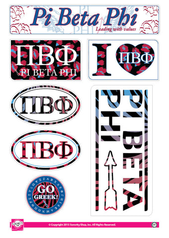 Pi Beta Phi <br> Animal Print Stickers