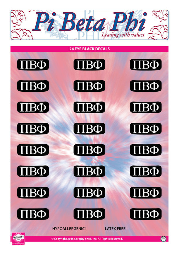 Pi Beta Phi <br> Eye Black Decals. <br> 24 Per sheet.