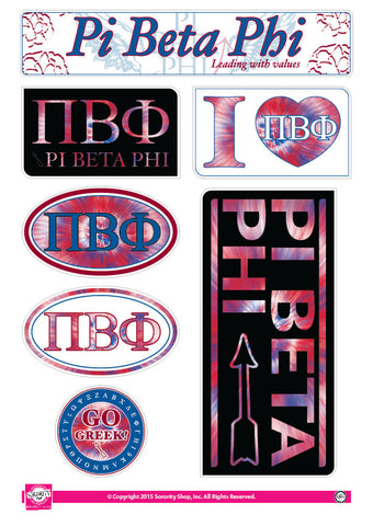 Pi Beta Phi <br> Tie Dye Stickers