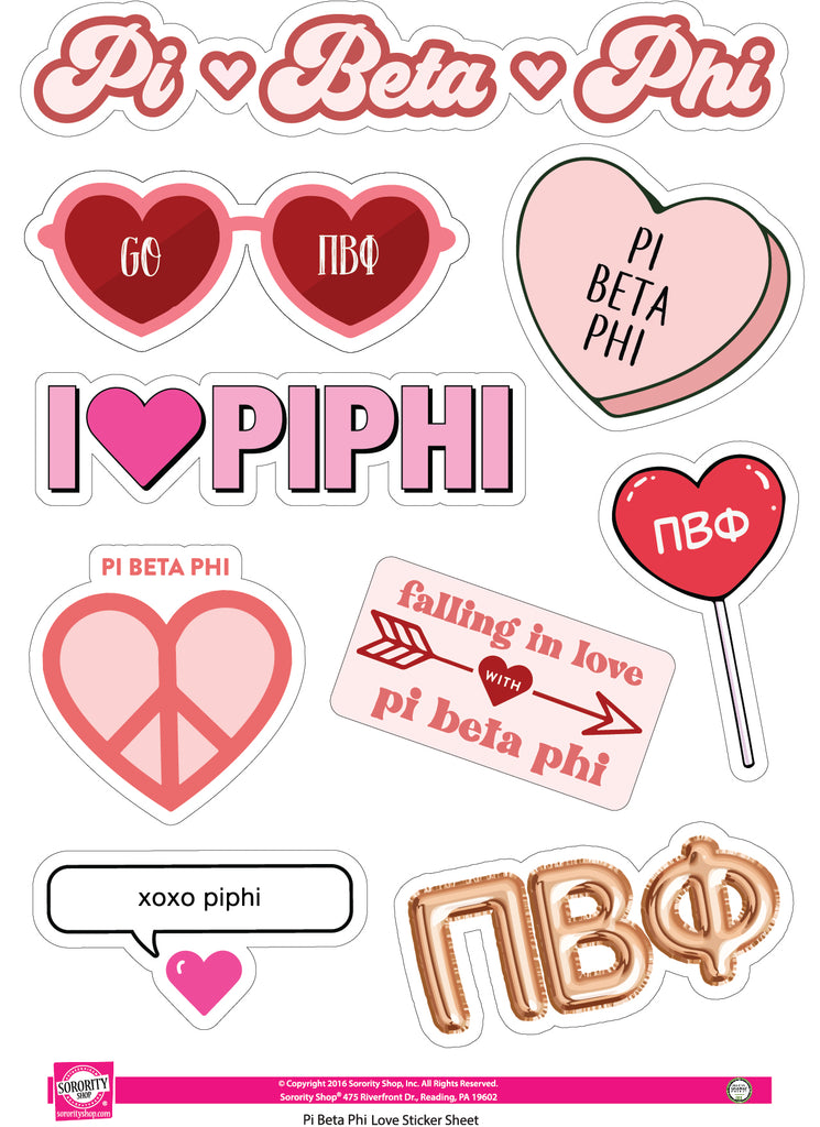 Pi Beta Phi- Sticker Sheet- Love Theme