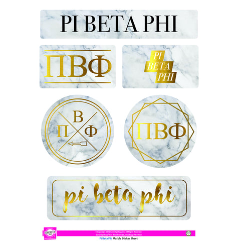 Pi Beta Phi Marble Sticker Sheet