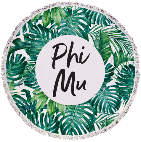 Phi Mu Palm Leaf Fringe Towel Blanket