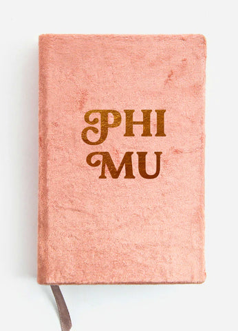 Phi Mu Velvet Notebook with Gold Foil Imprint