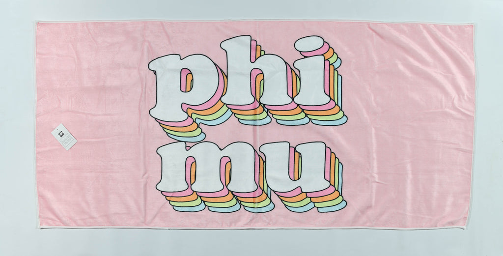 Phi Mu Plush Retro Beach Towel