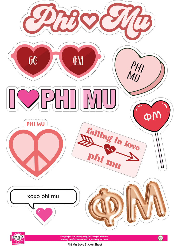 Phi Mu- Sticker Sheet- Love Theme