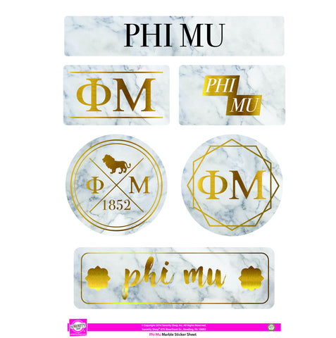 Phi Mu <br> Marble Sticker Sheet