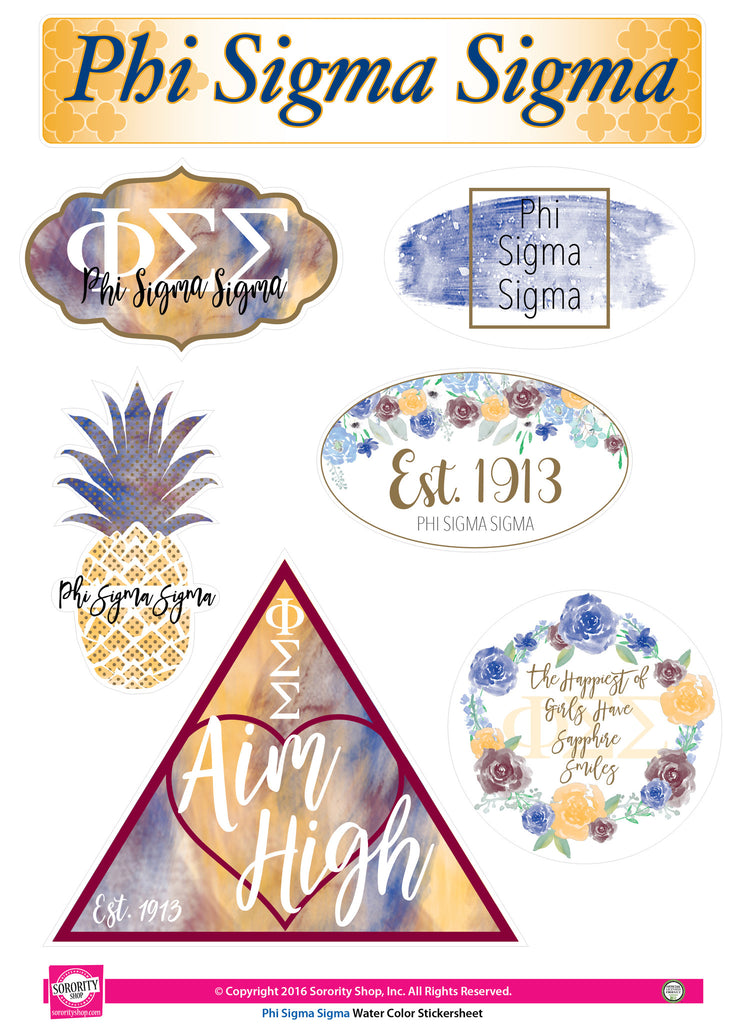 Phi Sigma Sigma <br> Water Color stickers