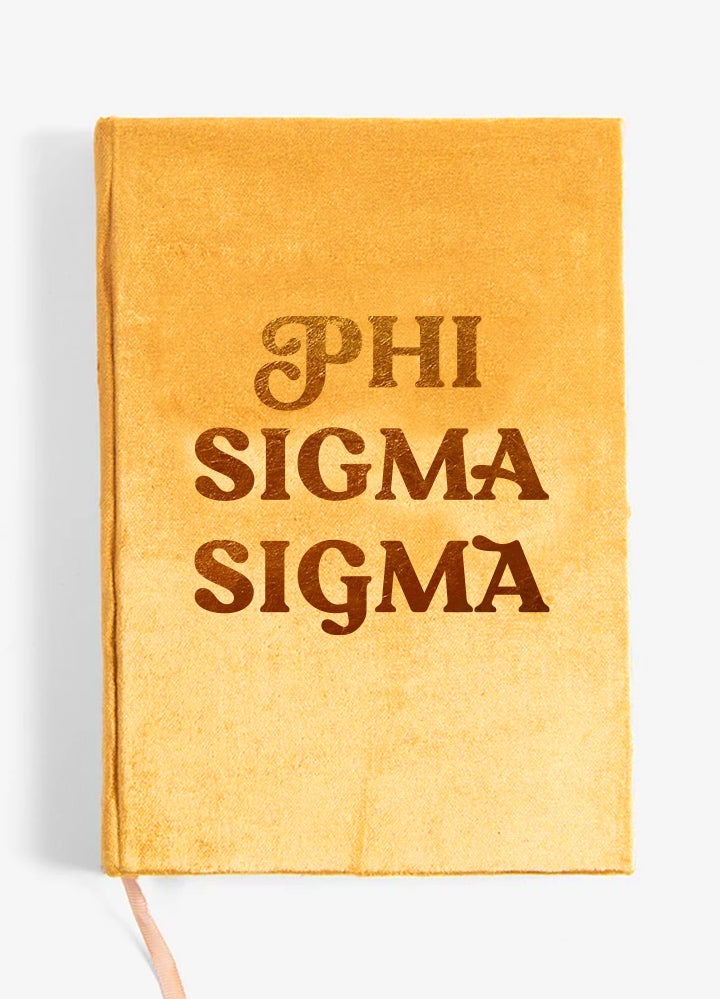 Phi Sigma Sigma Velvet Notebook with Gold Foil Imprint