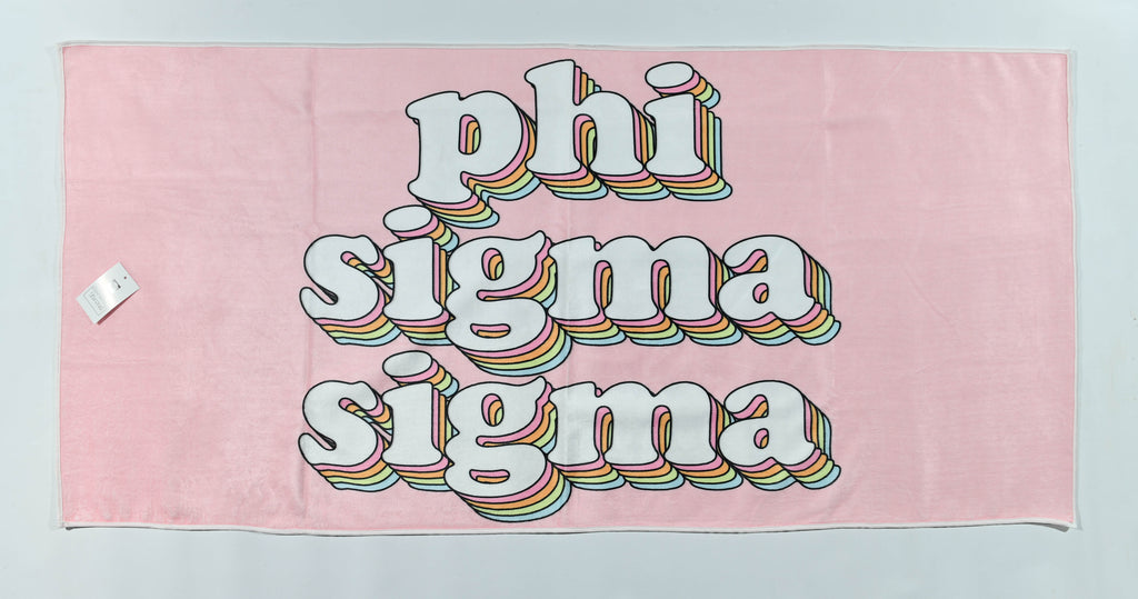 Phi Sigma Sigma Plush Retro Beach Towel