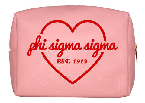 Phi Sigma Sigma Pink w/Red Heart Makeup Bag