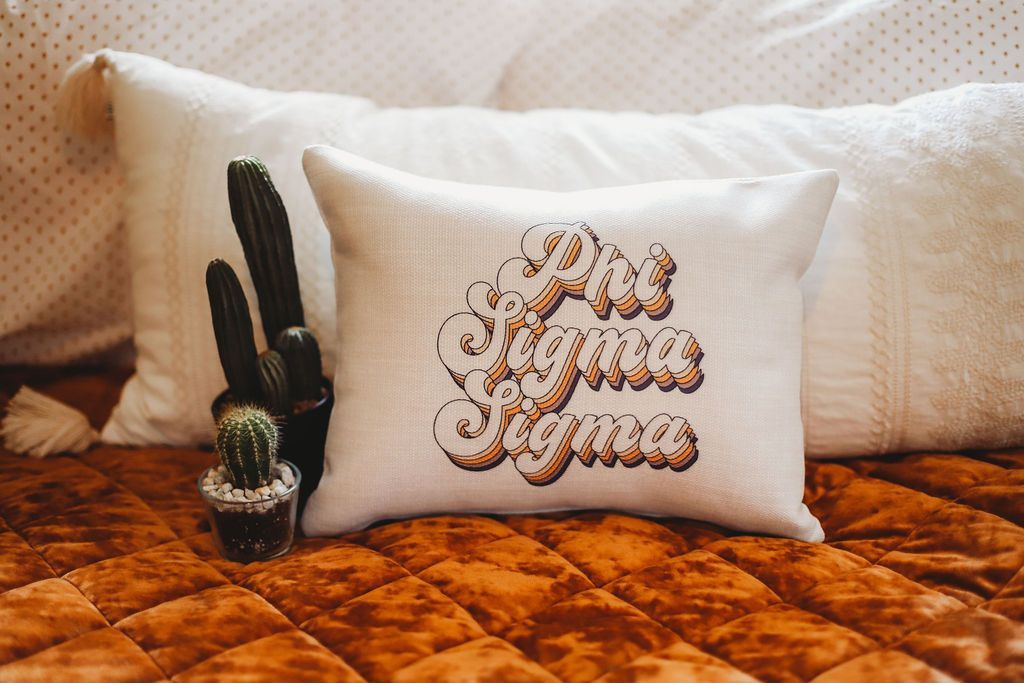 Phi Sigma Sigma Retro Throw Pillow
