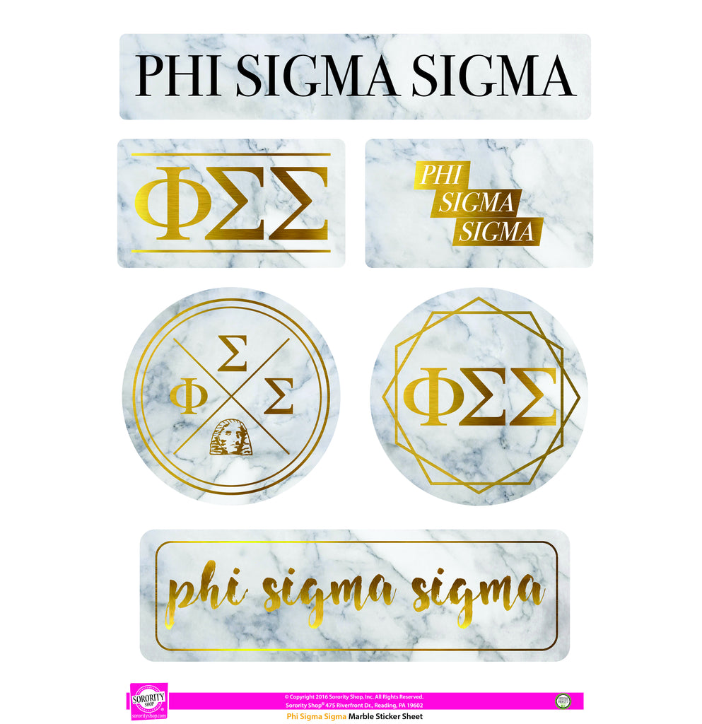Phi Sigma Sigma <br> Marble Sticker Sheet