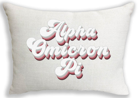 Alpha Omicron Pi Retro Throw Pillow